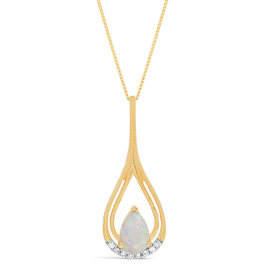 Womens Diamond Accent Lab Created White Opal 10K Gold Pendant Necklace