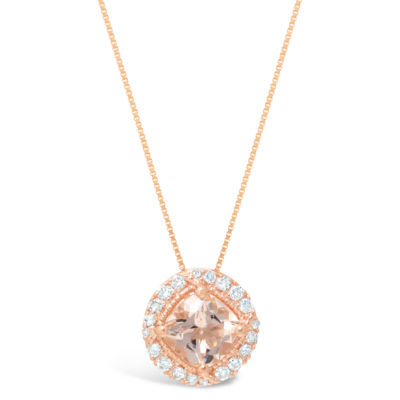 Womens 1/7 CT. T.W. Genuine Pink Morganite 10K Rose Gold Pendant Necklace