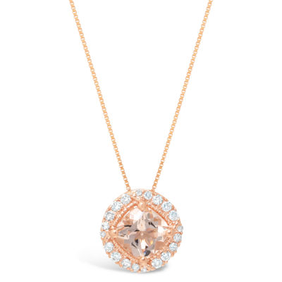 Womens 1/7 CT. T.W. Pink Morganite 10K Gold Pendant Necklace
