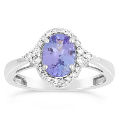 Womens 1/5 CT. T.W. Genuine Blue Tanzanite 10K White Gold Cocktail Ring