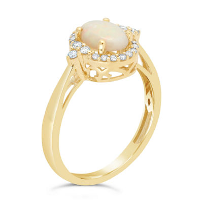 Womens 1/5 CT. T.W. Genuine White Opal 10K Gold Cocktail Ring