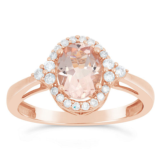 Womens 1/5 CT. T.W. Genuine Pink Morganite 10K Rose Gold Cocktail Ring