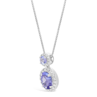 Womens 1/6 CT. T.W. Genuine Blue Tanzanite 10K White Gold Pendant Necklace