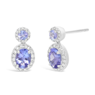 1/4 CT. T.W. Genuine Blue Tanzanite 10K White Gold 14mm Stud Earrings