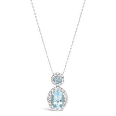 Womens 1/6 CT. T.W. Genuine Blue Aquamarine 10K White Gold Pendant Necklace