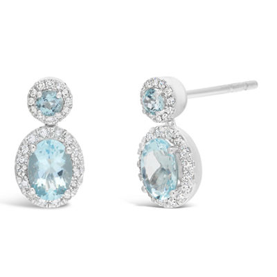 1/4 CT. T.W. Genuine Blue Aquamarine 10K White Gold 14mm Stud Earrings