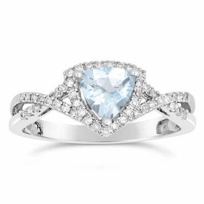 Womens 1/5 CT. T.W. Blue Aquamarine 10K Gold Cocktail Ring