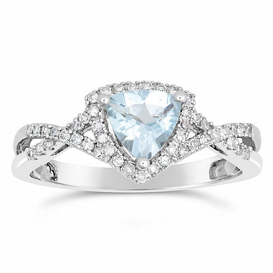 Womens 1/5 CT. T.W. Genuine Blue Aquamarine 10K White Gold Cocktail Ring
