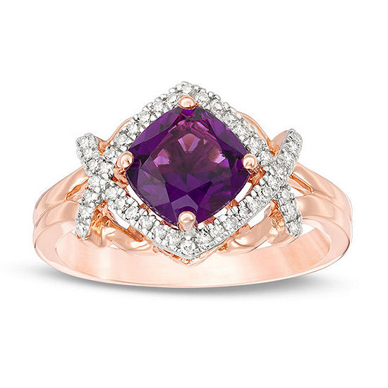 Womens 1/6 CT. T.W. Genuine Purple Amethyst 10K Rose Gold Cocktail Ring