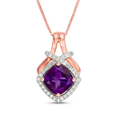 Womens 1/7 CT. T.W. Genuine Purple Amethyst 10K Rose Gold Pendant Necklace