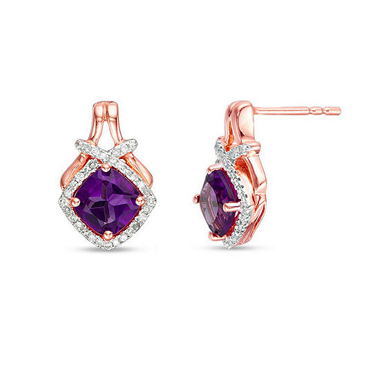 1/5 CT. T.W. Genuine Purple Amethyst 10K Rose Gold 15mm Stud Earrings