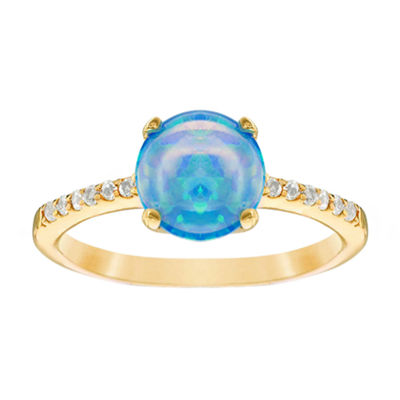 Womens Lab Created Blue Opal 14K Gold Over Silver Cocktail Ring
