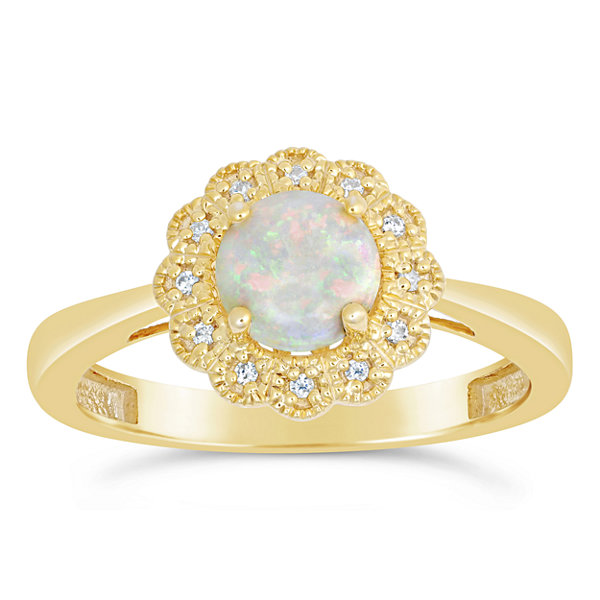 Womens Diamond Accent White Opal Gold Over Silver Cocktail Ring