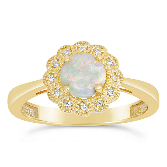 Womens Diamond Accent Lab Created White Opal 14K Gold Over Silver Cocktail Ring