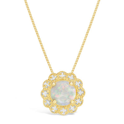 Womens Diamond Accent Lab Created White Opal 14K Gold Over Silver Pendant Necklace