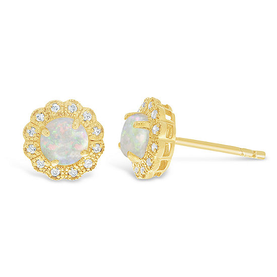 Diamond Accent Lab Created White Opal 14K Gold Over Silver 9mm Stud Earrings