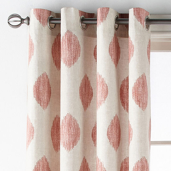 JCPenney Home Verona Calico Light-Filtering Grommet-Top Curtain Panel