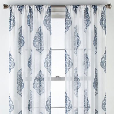 JCPenney Home Parkwood Damask Rod-Pocket Curtain Panel