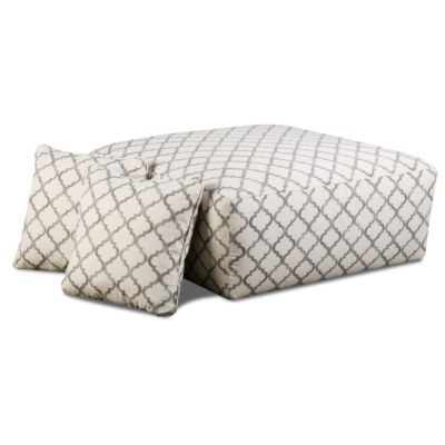 Fabric Possibilities Ponderosa Patterned Ottoman and Pillow Set