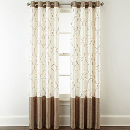 JCPenney Home Westfield Embroidered Light-Filtering Grommet-Top Single Curtain Panel, One Size , Brown