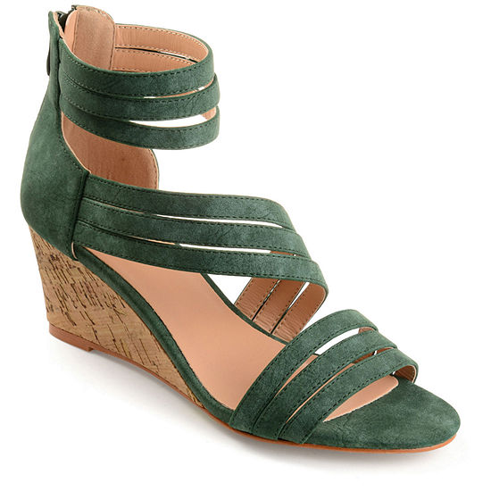 Journee Collection Womens Loki Zip Open Toe Wedge Heel Pumps