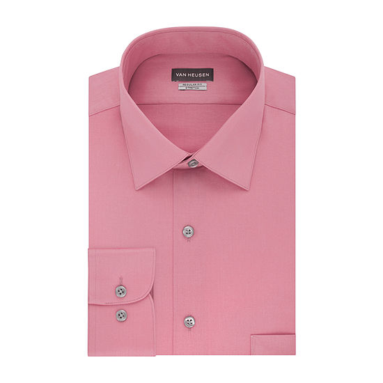 Van Heusen Lux Sateen Stretch Big And Tall Mens Spread Collar Long Sleeve Wrinkle Free Stretch Dress Shirt