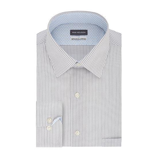 Van Heusen Air Mens point Collar Long Sleeve Stretch Cooling Dress Shirt- Big And Tall