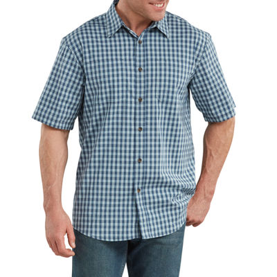Dickies® WS562 Men's Short Sleeve Moisture Wicking Plaid Button-Front Shirt