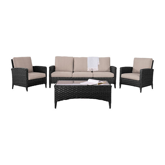 CorLiving Wide Rattan Wicker Sofa and Chair Patio Set with Textured Cushions