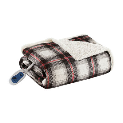 Woolrich Ridley Oversized Plaid Print Faux Mink To Berber Heated Midweight Electric Throw with Automatic Shut Off