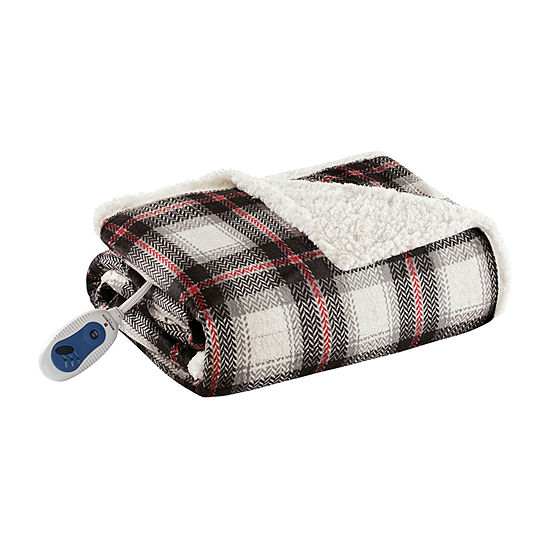 Woolrich Ridley Oversized Plaid Print Faux Mink To Berber Heated Throw Automatic Shut Off Heated Midweight Electric Throws