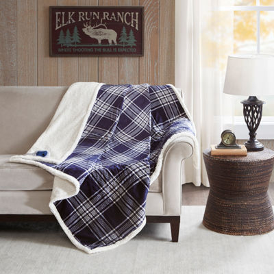 Woolrich Leeds Oversized Plaid Print Faux Mink To Berber Heated Throw Automatic Shut Off Heated Midweight Electric Throws