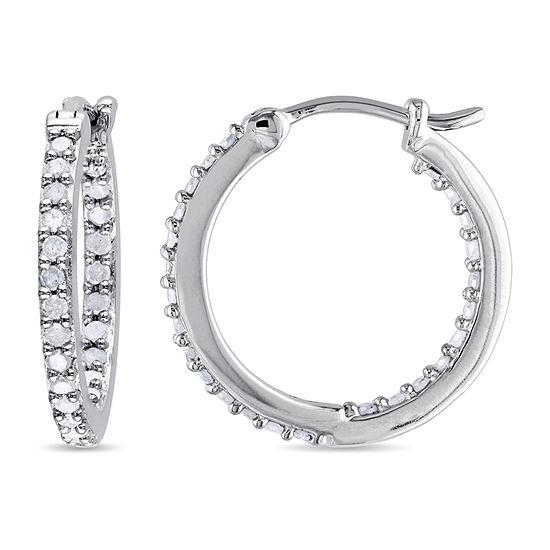 1/2 CT. T.W. Genuine White Diamond Sterling Silver 18mm Hoop Earrings