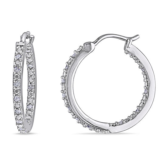1/4 CT. T.W. Genuine White Diamond Sterling Silver 20.9mm Hoop Earrings