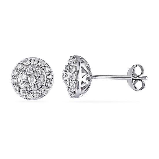 1/2 CT. T.W. Genuine White Diamond Sterling Silver Ear Pins