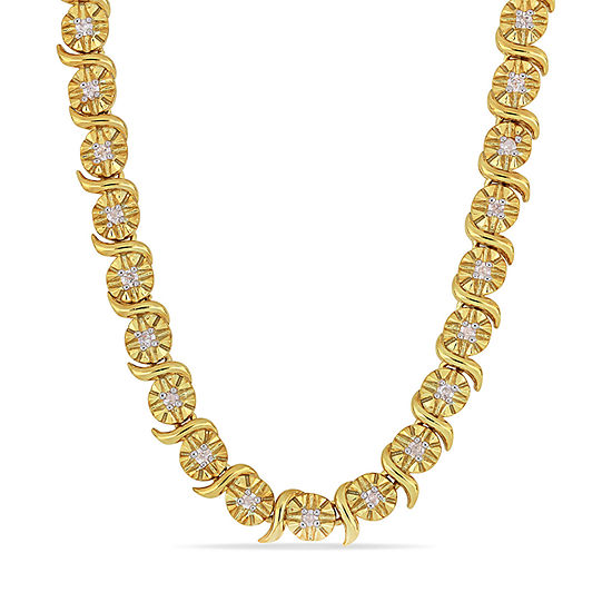Womens 1/2 CT. T.W. Genuine White Diamond 18K Gold Over Silver Tennis Necklaces