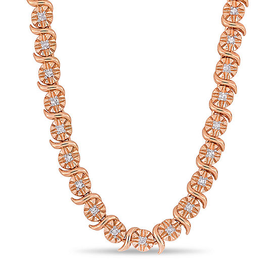 Womens 1/2 CT. T.W. Genuine White Diamond 18K Rose Gold Over Silver Tennis Necklaces