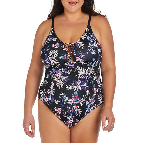 Ambrielle Floral One Piece Swimsuit Plus