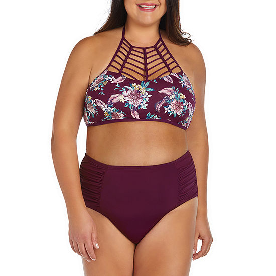Ambrielle Floral High Neck Swimsuit Top or Swimsuit Bottom-Plus
