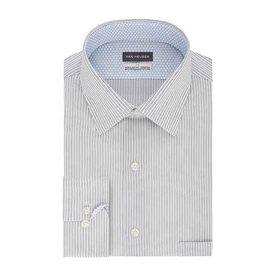 Van Heusen Air Regular Fit Mens Spread Collar Long Sleeve Wrinkle Free Stretch Cooling Dress Shirt