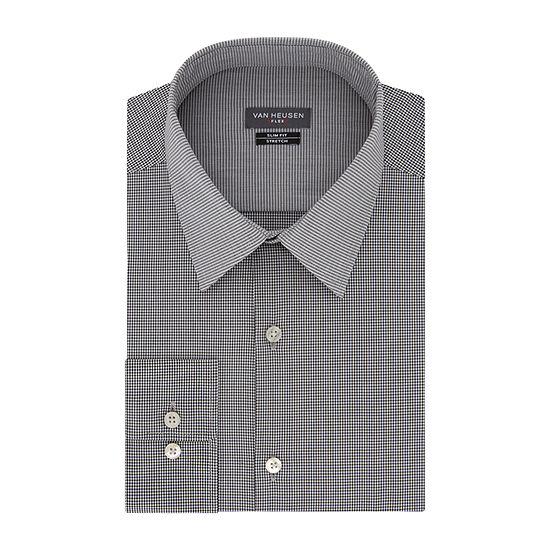 Van Heusen Mens Point Collar Long Sleeve Stretch Dress Shirt - Super Slim
