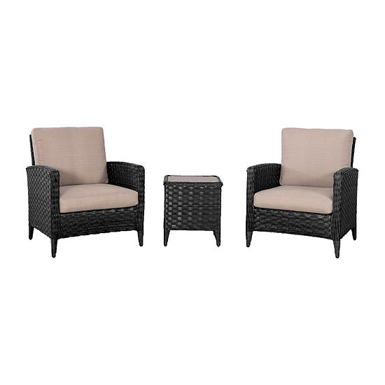 CorLiving Wide Rattan Wicker Patio Chair Set with End Table and Textured Cushions