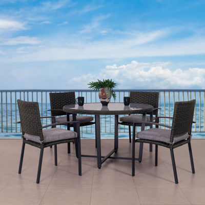 CorLiving Wide Rattan Wicker Patio Dining Set with Textured Grey Cushions