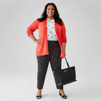 Liz Claiborne Cardigan with Shell Top & Emma Pant - Plus