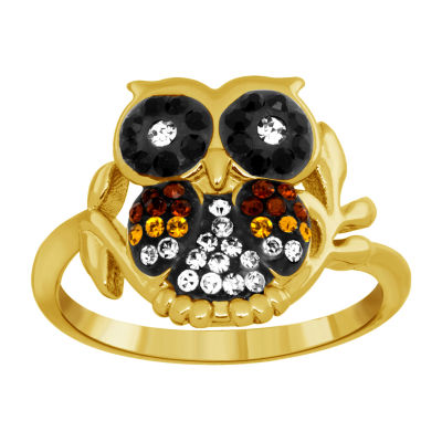 Sparkle Allure Womens Multi Color Crystal 14K Gold Over Brass Cocktail Ring