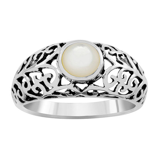 Sparkle Allure Womens 6MM White Mother Of Pearl Pure Silver Over Brass Cocktail Ring