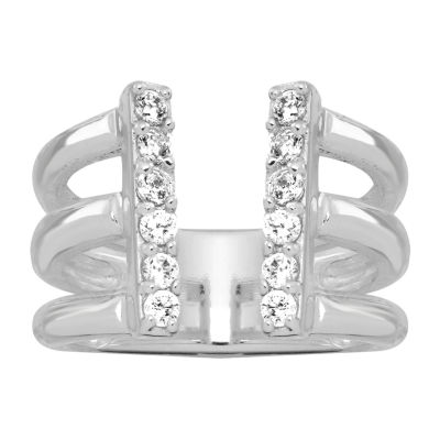 Sparkle Allure Womens Cubic Zirconia Pure Silver Over Brass Cocktail Ring