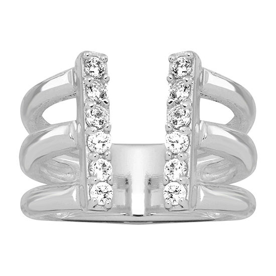 Sparkle Allure Cubic Zirconia Pure Silver Over Brass Cocktail Ring