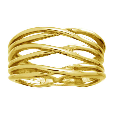 Sparkle Allure Womens 14K Gold Over Brass Cocktail Ring
