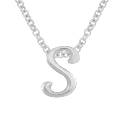 Itsy Bitsy Initial S Womens Sterling Silver Pendant Necklace